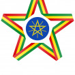 Star with flag of Ethiopia colors and symbols design element — Stock Photo