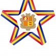 Star with Andorra flag colors and symbols design element — Stock Photo
