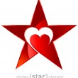 Original red metallic star with heart — Stock Photo #34200171