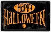 Vintage Happy Halloween card with skull — Stok fotoğraf