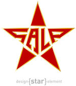 Original red star with Gold border and description sale — Stock Photo