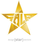 Original Gold star with description sale — Stock Photo