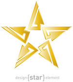 Gold Abstract star with arrows design element — Foto Stock