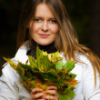 Portrait of a beautiful woman with maple — Stock Photo #1112091