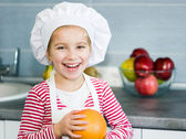 Girl with grapefruit — Stock Photo