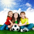Small kids with soccer ball — Stok fotoğraf