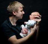 Father and his newborn daughter — Stock Photo