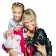 Pretty young woman with her daughters and dog — Stock Photo #18932613