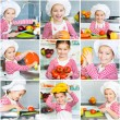 Little girl preparing healthy food on kitchen — Stock fotografie