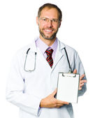 Portrait of a smiling doctor with health record — Stock Photo