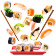 Delicious pieces of a fly sushi - Stock Photo