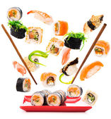 Delicious pieces of a fly sushi — Stock Photo