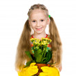 Little girl holding a plant — Stock Photo