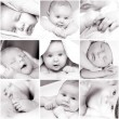 Black-and-white baby&#039;s photos - Stockfoto