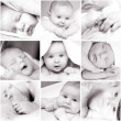 Black-and-white baby's photos - Stockfoto