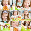 Cute little girl eating her breakfast - Stock Photo