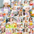 Smiling little girl in the kitchen — Stock Photo