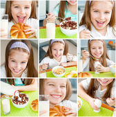 Cute little girl eating her breakfast — Stock Photo