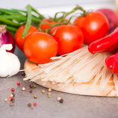 Fresh vegetables and rice noodles — Stock Photo