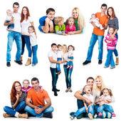 Mutlu gülümseyen aileler — Stok fotoğraf