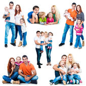 Happy smiling families — Stock Photo