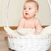 Baby girl in basket — Foto Stock