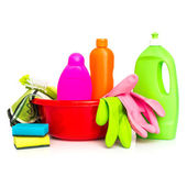 Cleaning supplies and gloves — Stock Photo