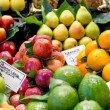 Variety of fruits at the market — Stock Photo