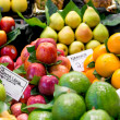 Variety of fruits at the market — Stockfoto
