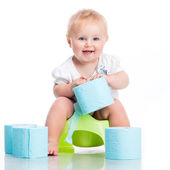 Little baby sitting on a pot — Stock Photo