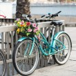 Bicycle with a basket — Stock Photo