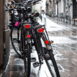 Stock Photo: Two bicycles in rain