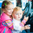 Sisters while driving — Stock Photo
