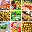 Collage of photos from the market — Foto de Stock