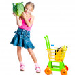 Girl with a basket of products — Stockfoto