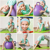 Little girl engaged in fitness at home — Stock Photo