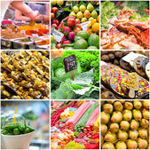 Collage of photos from the market — Stock Photo