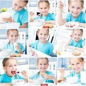 Niña tiene un desayuno — Foto de Stock