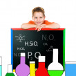 Little schoolboy drawn lab — Stock Photo