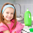 Girl make cleaning in the kitchen — Stock Photo #33666547