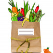 Fresh drawn  food in a paper bag — Stock Photo