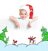 Little girl in the santa claus hat — Stock Photo