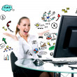 Happy businesswoman sits at the computer — Stock Photo