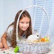 Little cute girl and rabbit — Stock Photo