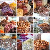 Collage of photos taken on the spices market — Stock Photo