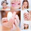 Collage of photos in which a girl takes a bath — Stockfoto