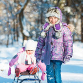 Little sisters in winter — Stock Photo