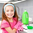 Girl make cleaning in the kitchen — Stock Photo #40541717