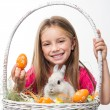 Happy little girl with bunny — Stock Photo
