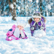 Sisters in the winter forest — Stock Photo #40542077